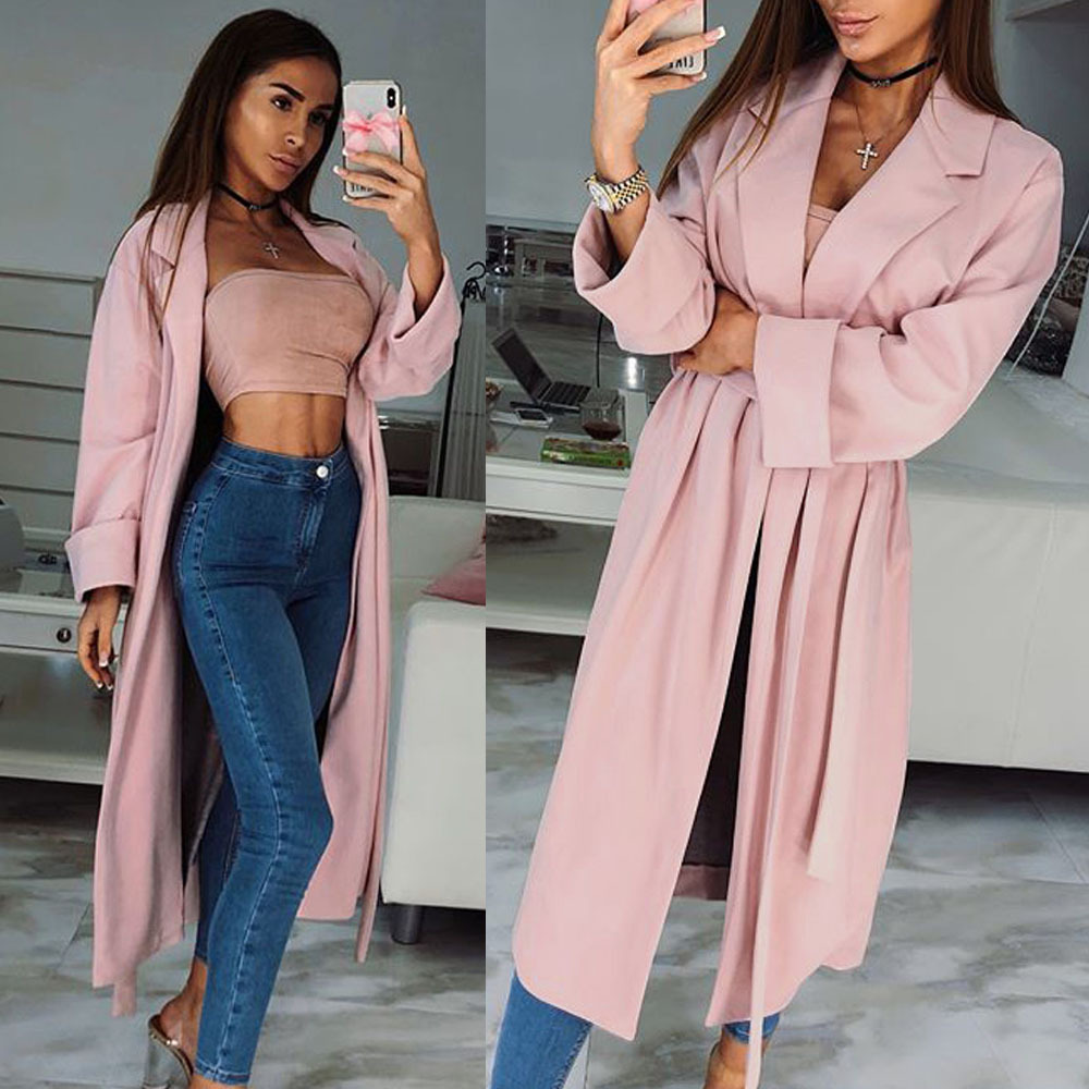 Echoine Autumn Women Classic Long Trench Coat With Belt Ladies Business Pink Long Coat Slim Outwear Windbreaker Jacket Cardigan