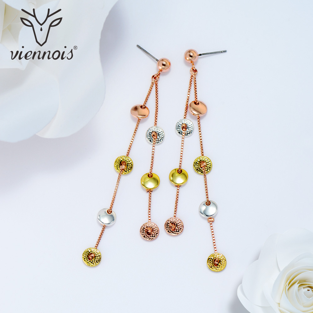Viennois Gold Silver Color Women Stud Earrings Female Mixed Colors Long Earrings Christams Jewelry for Girls