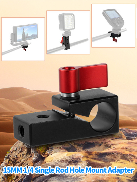 Bgning 15 ミリメートル 1/4 片ロッド穴マウントクランプワイヤーディスプレイマイククリップアダプタ一眼レフカメラウサギケージクリップカメラアクセサリー
