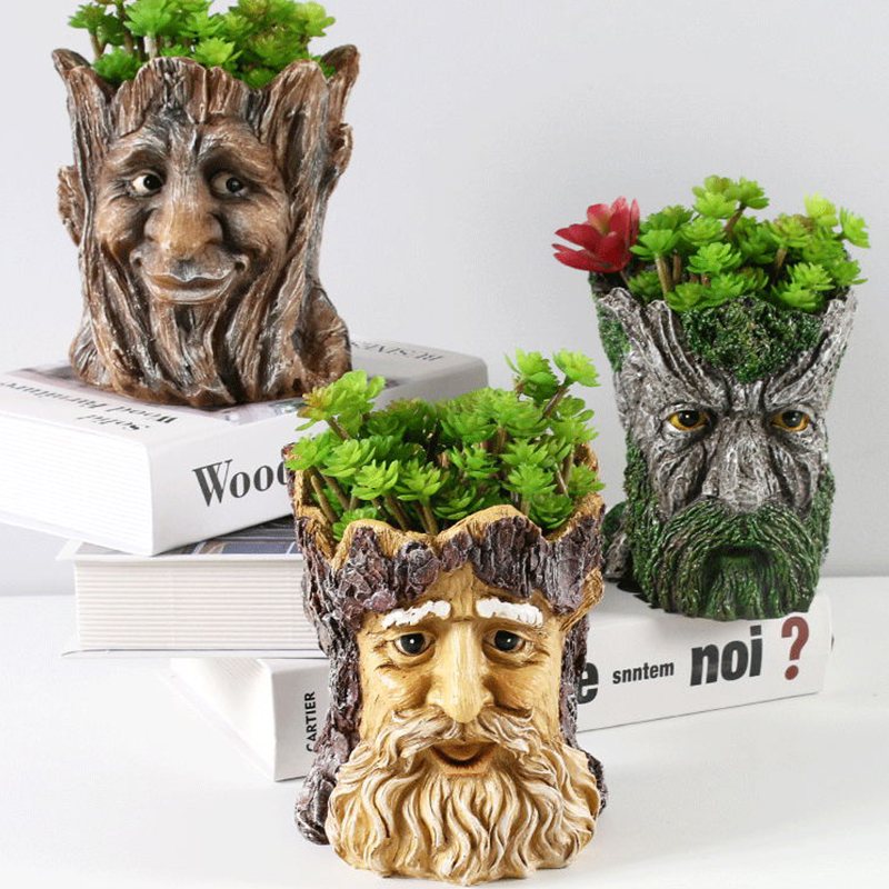Image 2 - GLLead Groot Resin Flower Pot Cute Planter Action Figures Tree Man Creative Model Toy Pen Pot Garden Flowerpot Home Decorate-in Flower Pots & Planters from Home & Garden
