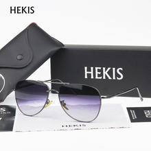 HEKIS Brand Sunglasses Men Mirror Lens Vintage Sun Glasses Alloy Frame Male Sunglasses Driving Oculos De Sol B2761