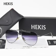 HEKIS Ray Brand Sunglasses Men Mirror Lens Vintage Sun Glasses Alloy Frame Male Sunglasses Driving Oculos