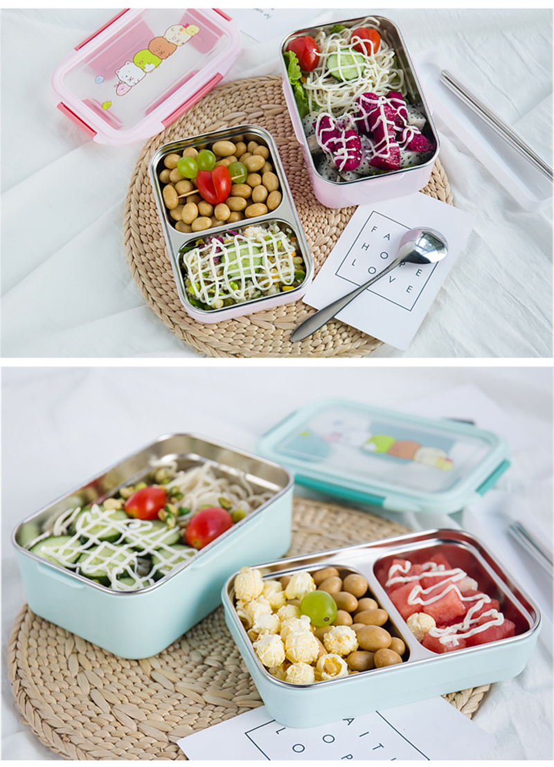 TUUTH Cartoon Lunch Box  Stainless Steel Double Layer Food Container Portable for Kids Kids Picnic School Bento Box B9