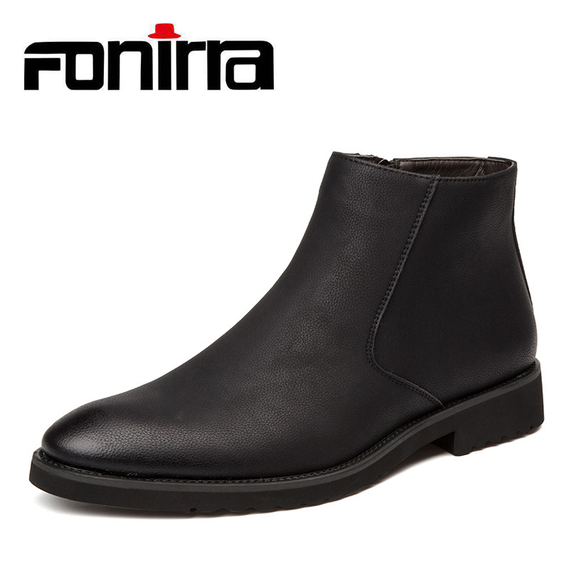 FONIRRA 2019 Male Chelsea Boots Ankle Boots Men Pointed Toe Autumn Winter Ankle Boots Oxford Dress Shoes Male Big Size 38-45 941