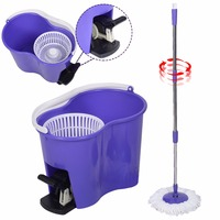 Goplus Automatically Microfiber Spinning Mop Bucket Set Magic Rotary Mop 360 Degree Pedal Spin Mops Floor Cleaning CL11611