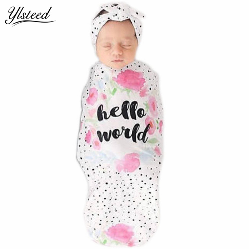 Us 4 99 Baby Co Sleeping Bag Newborn Fl Swaddling Blanket And Knotted Bow Headband Set Lovely Boy Muslin Swaddle Wrap In