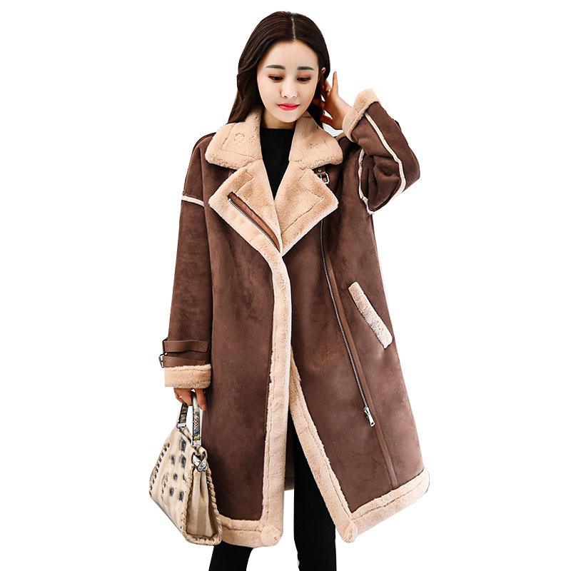 2018 Winter female Suede Leather Jacket Women long Lamb Wool Motorcycle Jacket Thick Lambs Wool Warm zip Coat outerwear QH1227