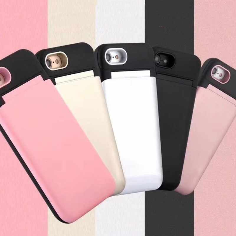 finest selection f4b83 bae8a FTAIDKJ Luxury Hidden Credit Card Holder ID Card Slot Hard Case With Mirror  For iPhone X 10 6 6S 7 8 Plus 7 8 Makeup Stand Cover