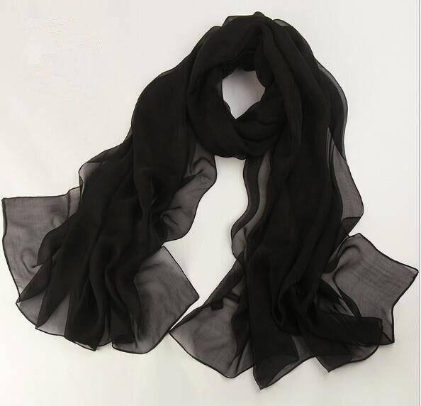 Haute qualité femmes d'été de mode solide foulard de soie grande écharpe 180*110 cm