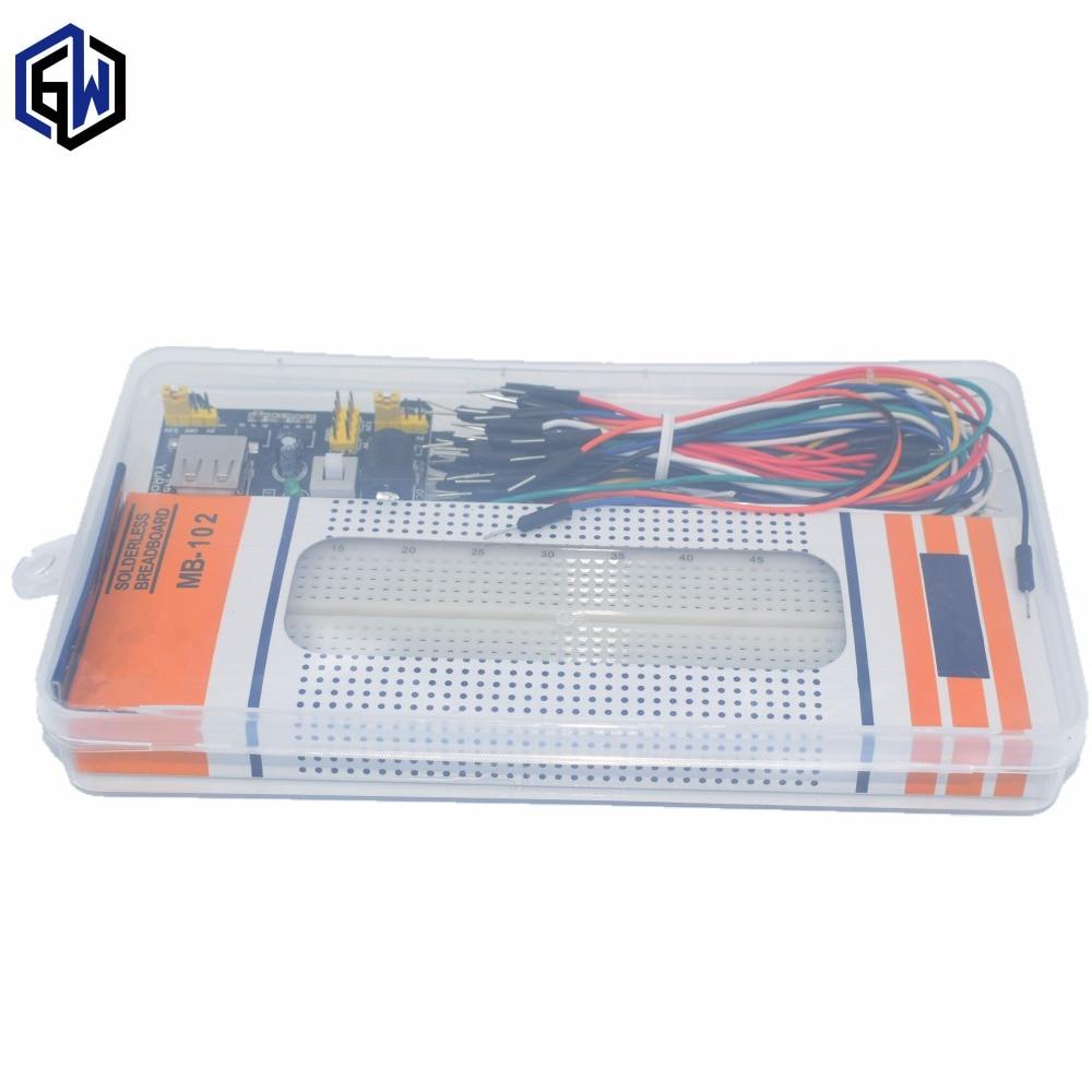 3,3 V/5 V MB102 Placa de módulo de potencia + MB-102 830 puntos soldadura prototipo pan kit + 65 Flexible cables de puente