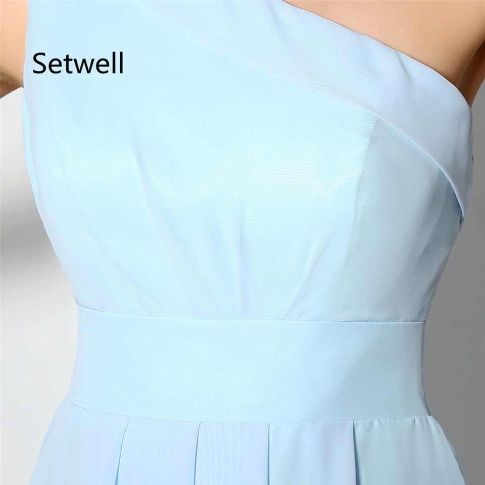 US $14.14 Setwell Simple Light Blue Bridesmaid Dress Summer Chiffon Beach  Wedding Gowns One Shoulder Knee Length Short Bridesmaid Dressshort
