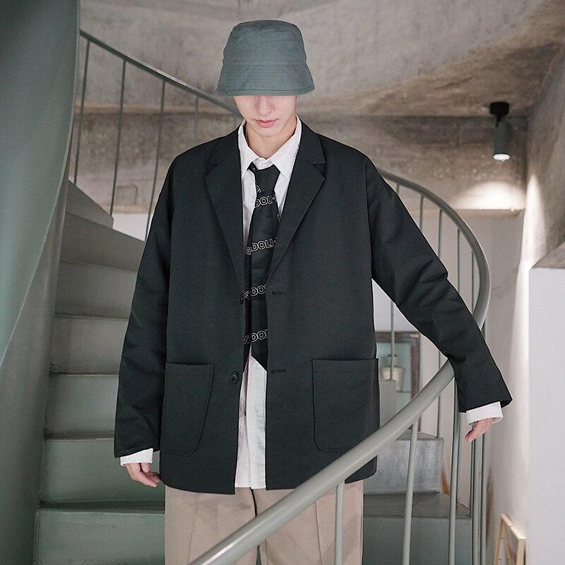 2019 mode loisirs col rabattu école couleur unie costume Blazer hommes coton lâche costume manteau marée poches gris/noir veste