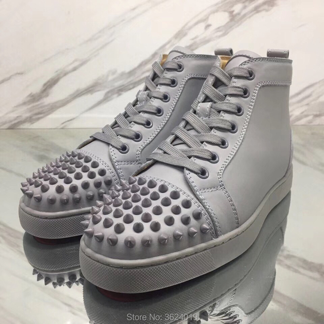 a18d7120880 Low-Cut Shoes cl andgz Men Walking Outdoor Sport Gray Rivet Lace-up Fashion Red  bottom Shoes Sneakers Leather Loafers Flat 2018