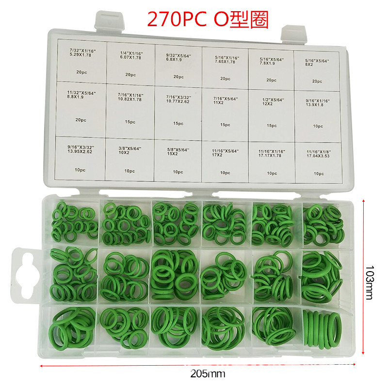 High Quality 270pcs Green Sealing Ring O Rings Rubber Circular