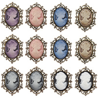 Factory Directly Wholesale 12 Pieces Pack Vintage Gold Plated Cameo Pin Diamante Brooches In 6 Assorted
