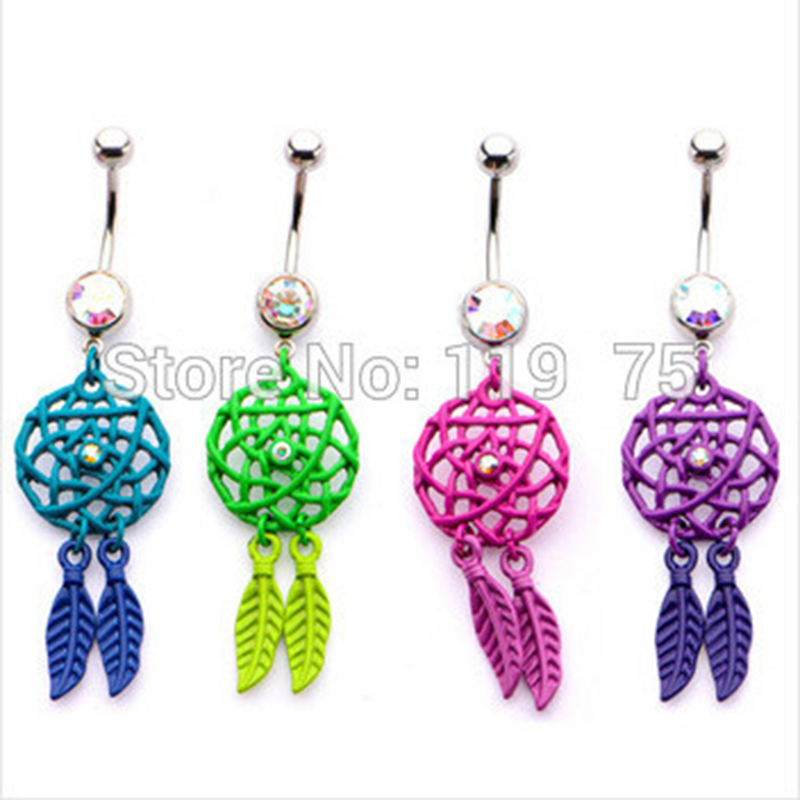 Dangle Belly Ring Navel Bouton strass creux Croix Barbell Bar Body Piercing