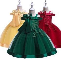 New Design Girls Party Dress Off Shoulder Beading Kids Flower Big Bow Princess Costume for Girls Wedding Birthday Ceremony Dress