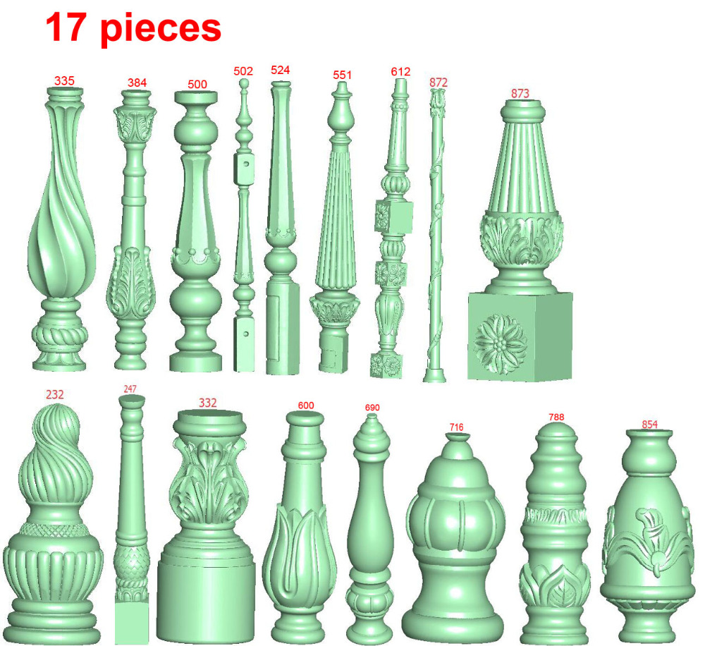 17 Pieces Sticks Furniture ArtCAM Aspire Type3 CNC Router 4-axis STL Files