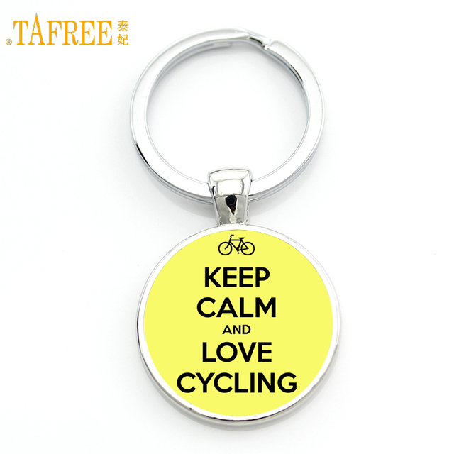 TAFREE Brand Keep Calm and Love Cycling keychain riding bicycle bike casual spoets style women men key chain ring holder SP443
