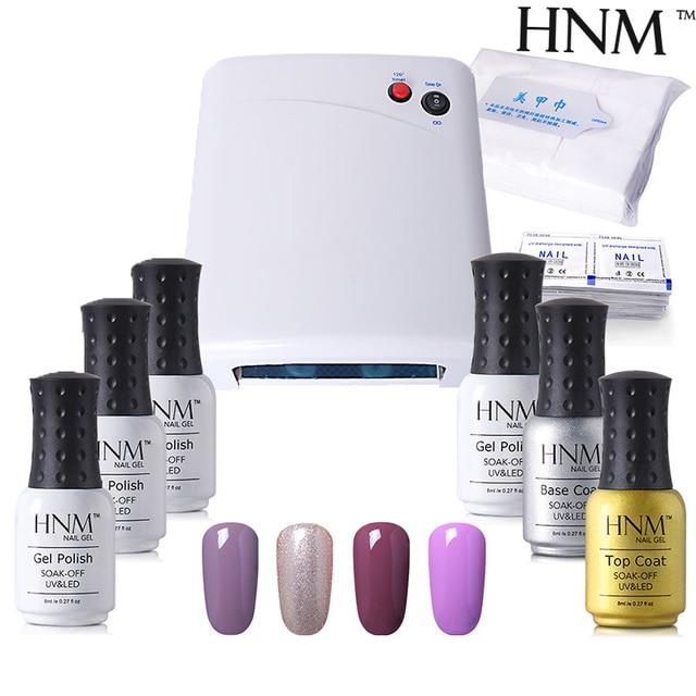 HNM 4pcs Nail Polish 1 Top Base Coat Dryer Lamp Remover Nail Art Set ...