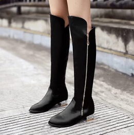 New Black Beige Brown Over The Knee High Boots Women Motorcycle Boots Flats Long Boots Low Heel Leather Shoes Big Size 34-43 inc new beige women s size small s faux leather knit motorcycle jacket $99