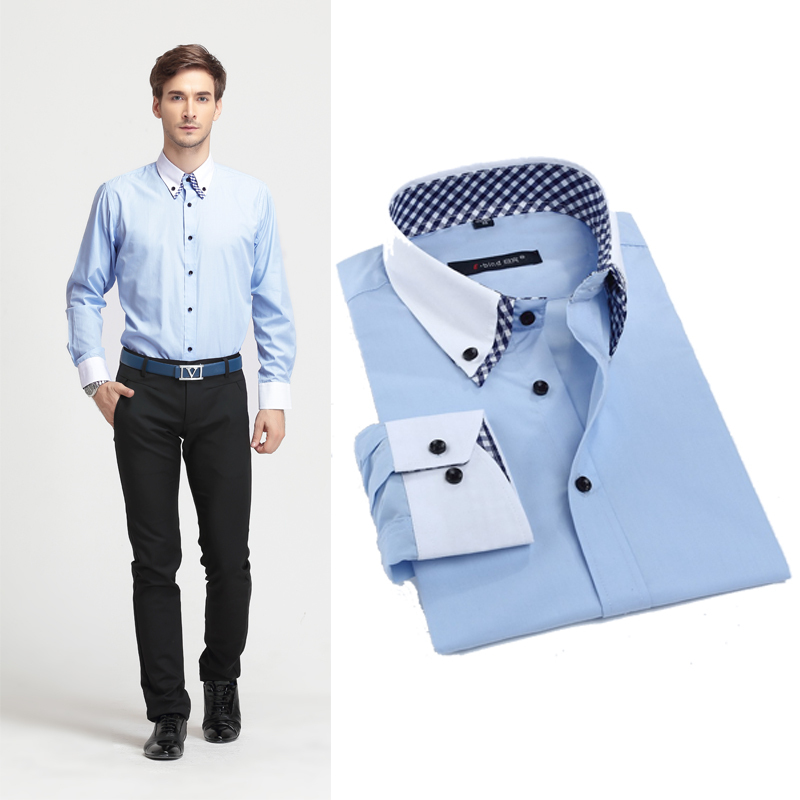 Business Casual Wear Mens Long Sleeve Shirts Fashion Brand Men Slim