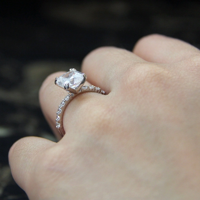 2.7CTW Cushion Cut Simulated Diamond 925 Sterling Silver with Gold Wedding Engagement Ring