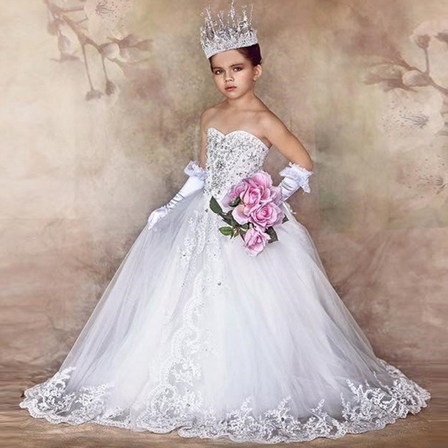 58667fba572da Princess Lace Flower Girls Dresses 2017 Puffy White Appliques Holy  Communion Dress For Girls Bow Knot