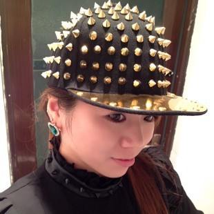 Unisex Punk Hedgehog Hat Personality Jazz Snapback Spike Studded Rivet  Spiky Baseball Cap For Hip Hop Rock Dance-in Baseball Caps from Apparel  Accessories ... 56650cfe34ae