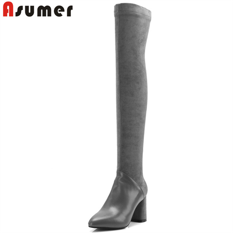 ASUMER 2018 fashion over the knee boots pointed toe zip stretch fabric+cow leather boots thick high heels boots big size 33-42 asumer 2018 hot fashion pointed toe cow suede leather boots stiletto high heels over the knee boots for women zip winter boots
