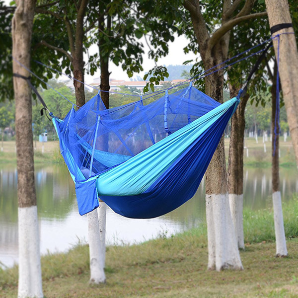 2017 Portable Camping Hiking Hammock Folded Into The Pouch Mosquito Net Hammocks Hanging Bed Travel Kits  E2S camping hammock portable mosquito hammocks lightweight