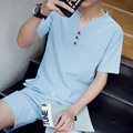 16 new summer Japanese thin Linen Cotton Mens Suit cool Men shirt short sleeve  tide