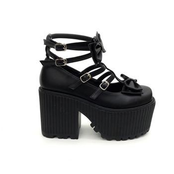 Chunky Black Boots | Women Ankle Boots Spring Bowknot Punk Martin Boots Buckle Black Shoes Fashion Women Party Pumps Chunky Heels Motorcycle Boots