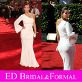 Kim Kardashian Evening Gown at Emmy Awards 2009 Red Carpet One Shoulder Long Sleeve White Mermaid Prom Dress