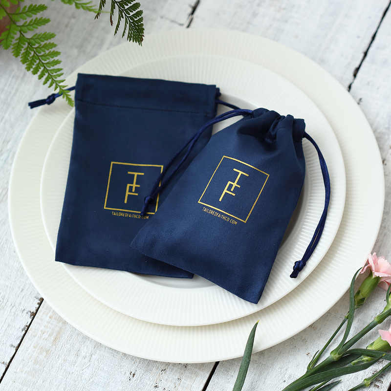100 Flannel Navy Blue Jewelry Packaging Custom Personalized Logo Velvet Drawstring Gift Bag for Wedding Party Decoration Pouches