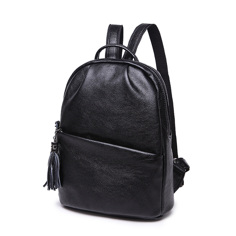 Europe and the United States fashion simple wild Cow Leather backpack women college wind travel backpack fine fringed schoolbag