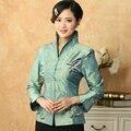 Голубой женская вышивка куртки традиционный китайский стиль длинный рукав пальто размер sml XL XXL XXXL Mujer Chaqueta Mny18-A