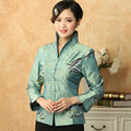Light Blue Women's Embroidery Jacket Traditional Chinese style Long Sleeve Coat Size S M L XL XXL XXXL Mujer Chaqueta Mny18-A