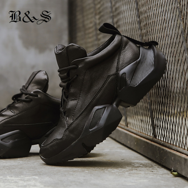 Black& Street 2019 Cow Leather handmade Thick Sole platform Men Trainer Boots Lace Up New lightweight sneaker BootsBlack& Street 2019 Cow Leather handmade Thick Sole platform Men Trainer Boots Lace Up New lightweight sneaker Boots