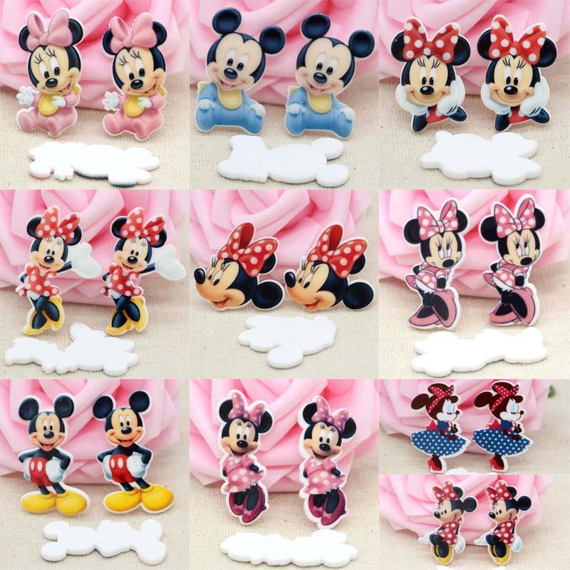 50pcs/Lot Mixed Minnie Planar Resins Cabochons Mickey Flat Back DIY Hair Bow Center Home Decor Scrapbooking Handmade Crafts