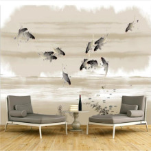 Custom wallpaper mural new Chinese ink squid painting TV background wall - high-grade cloth