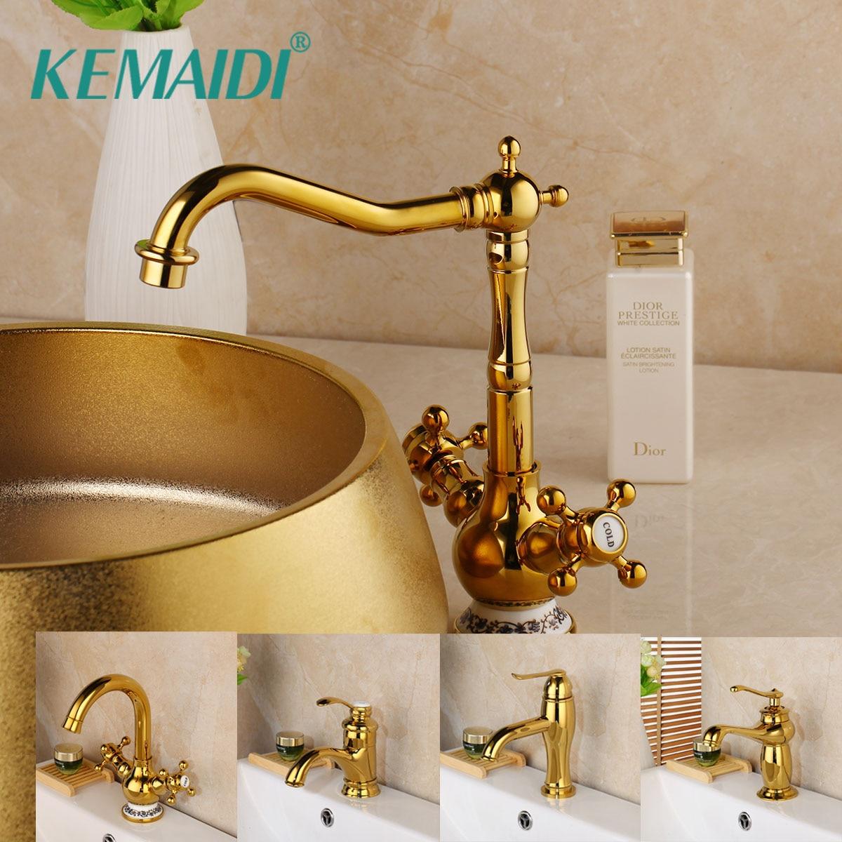 KEMAIDI moderne de luxe salle de bains bassin mélangeur en céramique diamants or robinets froid et chaud vanité évier or robinet