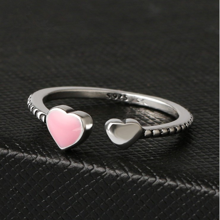 Hot Sale Fashion Jewelry 925 Silver Crystal From Austrian Simple Wild Small Love Opening Ring Fit Women And Female As Gift