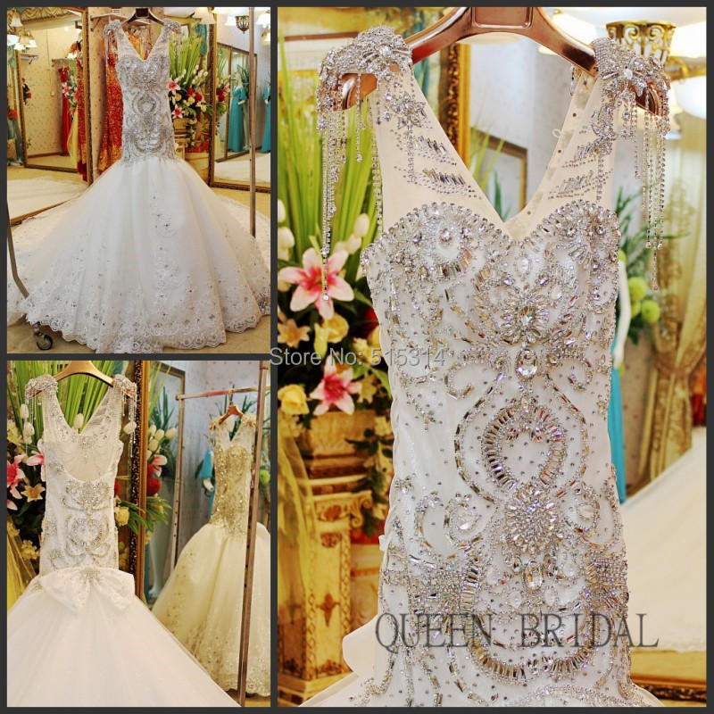 2017 Lace crystal beaded mermaid wedding dress rhinestone appliques bridal dresses gown wedding bride dress QUEEN BRIDAL BS49