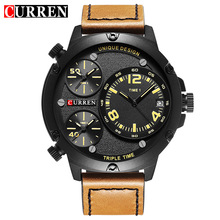 Curren 2018 Hardlex Big Dial Face Multiple Time Zone Brown Leather Black Matte Bezel Mens Top Brand Luxury Quartz Military Watch все цены