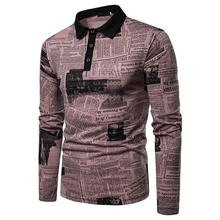 Long sleeve Polo Shirt Men Newspaper print design Fashion Lapel collar Casual T New White