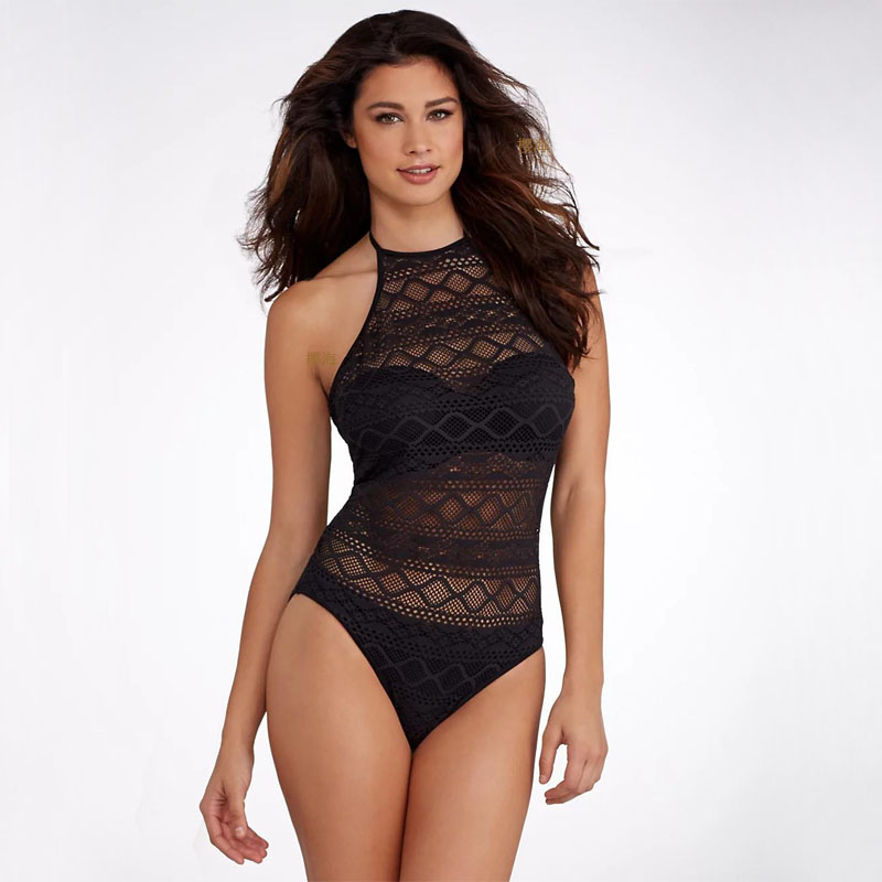 <font><b>Sexy</b></font> Lace <font><b>Women</b></font> <font><b>Swimwear</b></font> <font><b>2019</b></font> Hollow Back Bathing Suit <font><b>One</b></font> <font><b>Pieces</b></font> <font><b>Swimsuit</b></font> Halter Monokini Summer maillot de bain femme Beach image