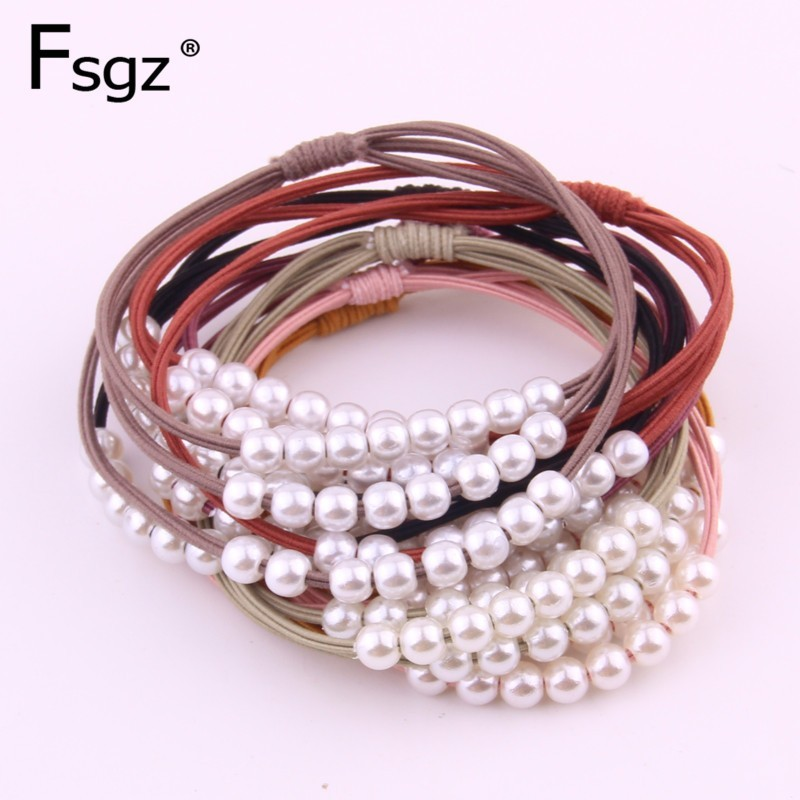 2 PIECES High Elastic Hair Gums For Women Solid Acrylic Rubber Bands Pearls Beading Three-in-one Hair Ties Knot Hair Loops 2019