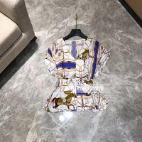 WD06365 Модные женские Топы И Футболки 2019 для подиума роскошный известный бренд Европейский дизайн вечерние футболки женская одежда
