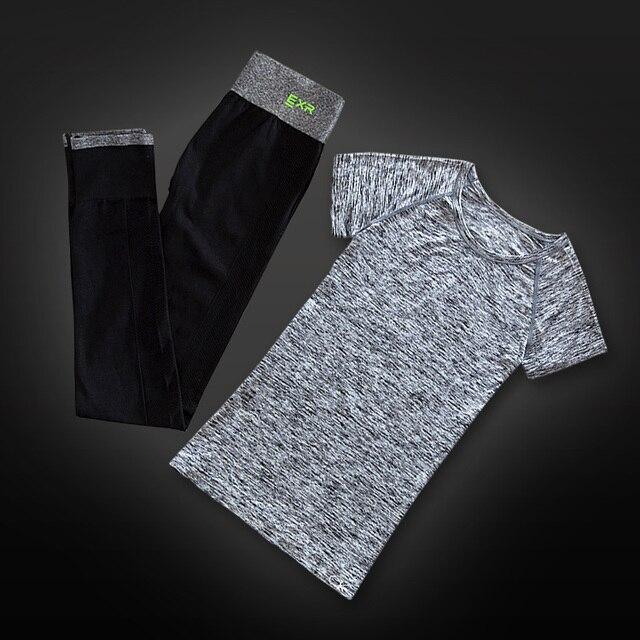 Nouveau femmes deux pièces ensemble chemise et capris de yoga sport jogging  costumes fitness gym survêtement 25787141768